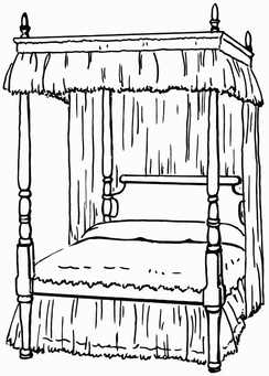 Coloring page Four-poster bed