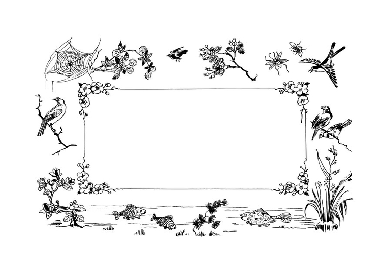 Coloring page frame nature