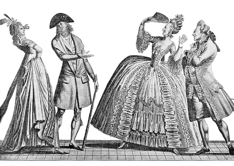 Coloring page French formal court styles 1778