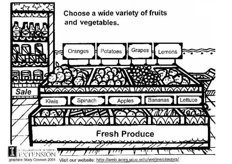 Coloring page fresh vegetables and fruit