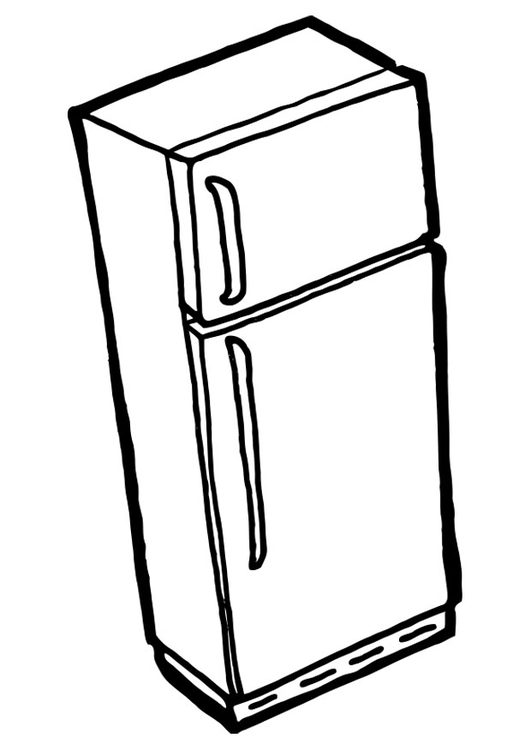 Coloring page fridge with freezer