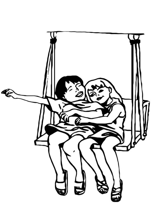Coloring page friends on the swing