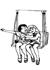 Coloring pages friends on the swing