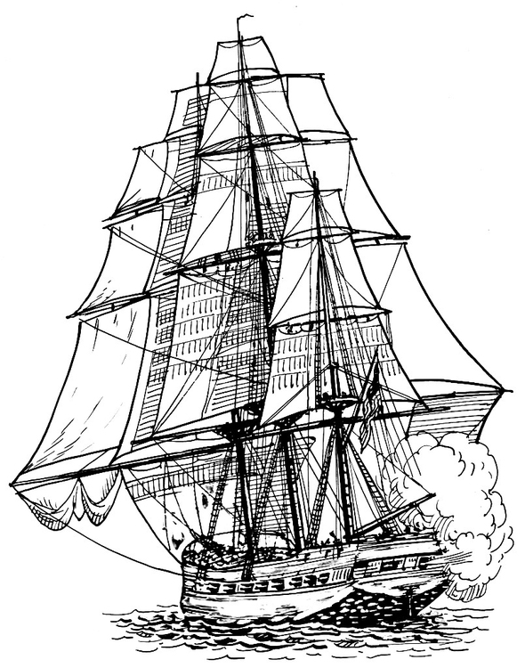 Coloring page frigate