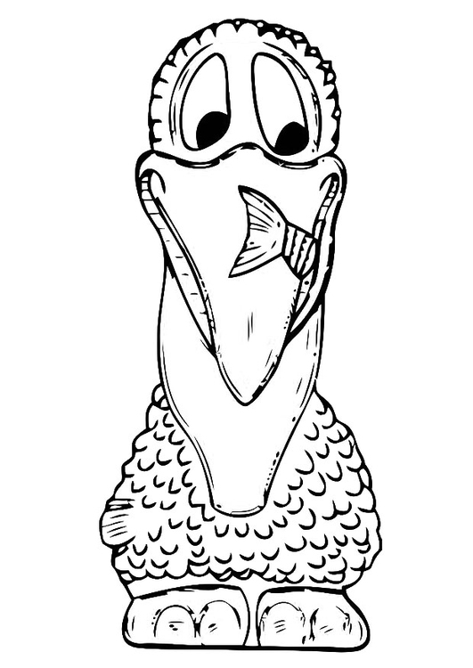 Coloring page front of pelican