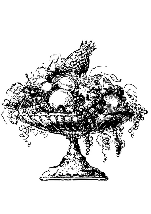 Coloring page fruitbowl