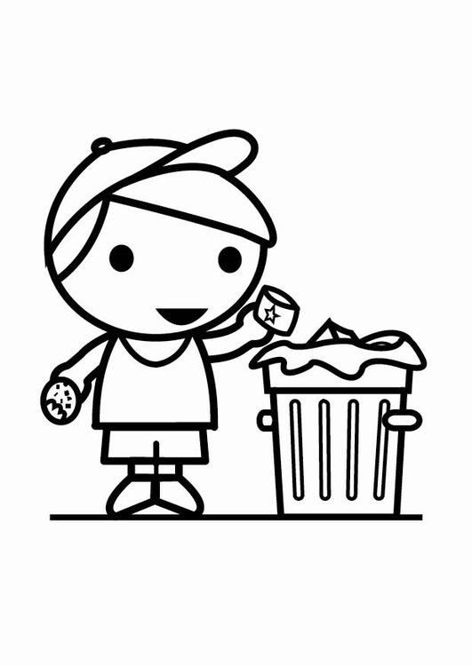 Coloring page garbage in the garbage can