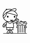 Coloring pages garbage in the garbage can