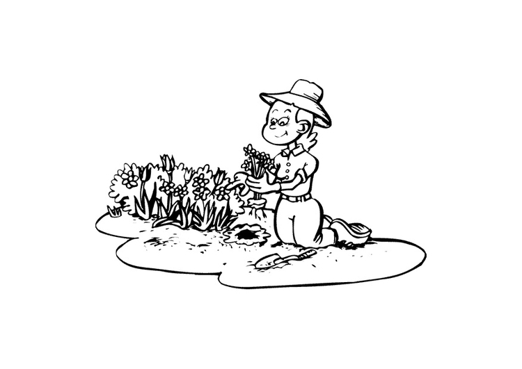 Coloring page gardening
