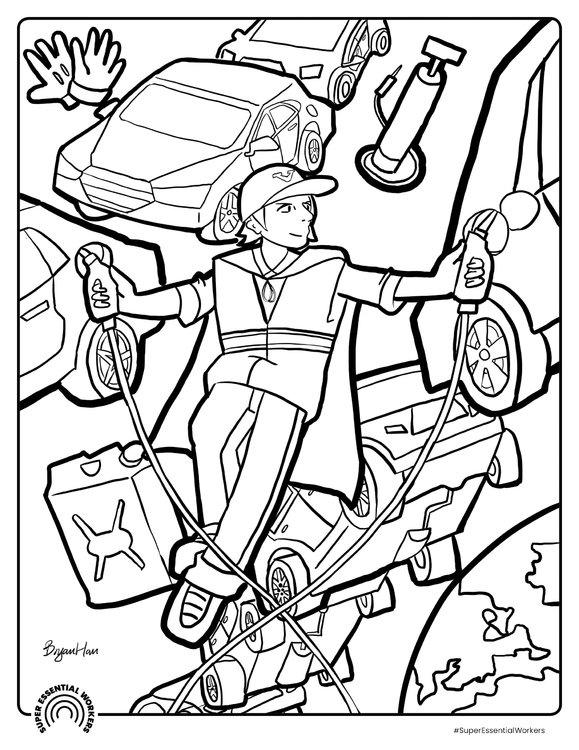 Coloring page gas station attendant