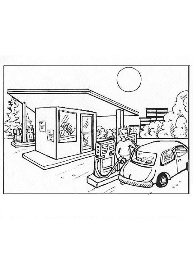 gas station coloring page - photo #6