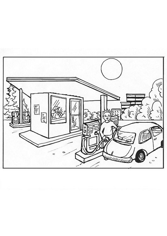 Coloring page gas station