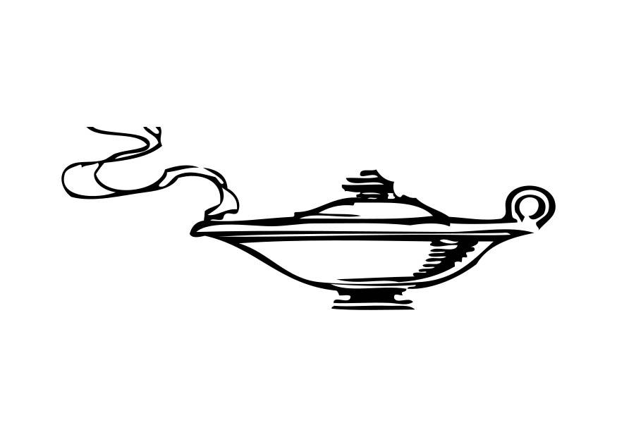 Coloring page genie of the lamp img 17327 for Genie lamp coloring page