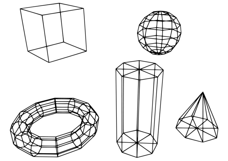 Coloring page geometric figures