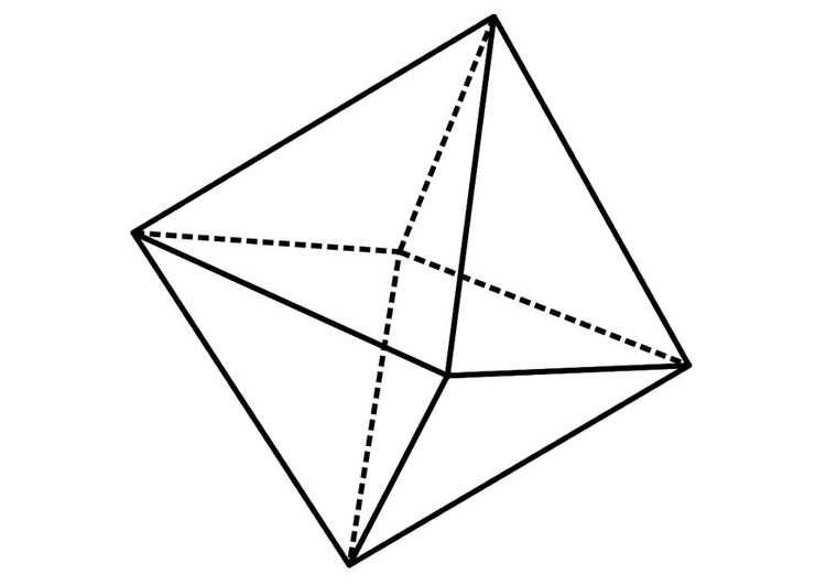 Coloring page geometrical figure - octahedron
