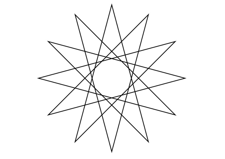 Coloring page geometrical figure - star
