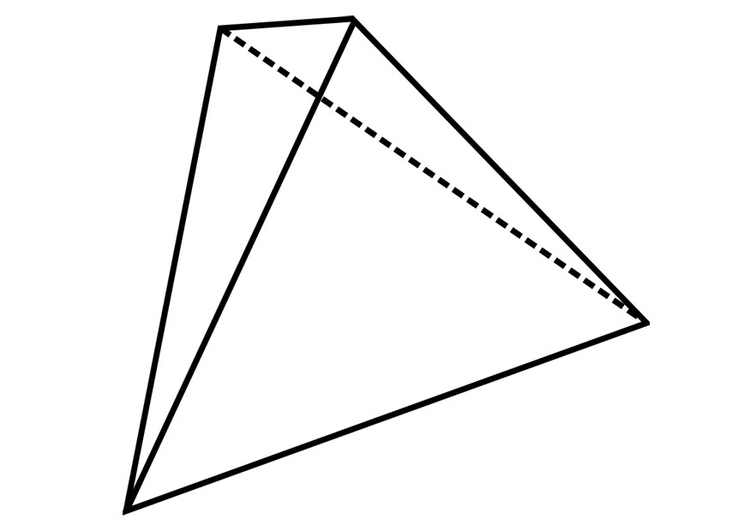 Coloring page geometrical figure - tetrahedron