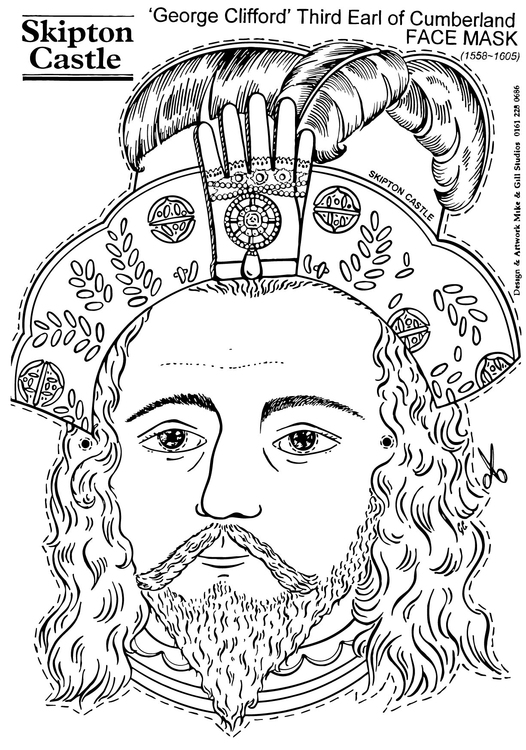 Coloring page George Clifford, Third Earl of Cumberland - Face Mask