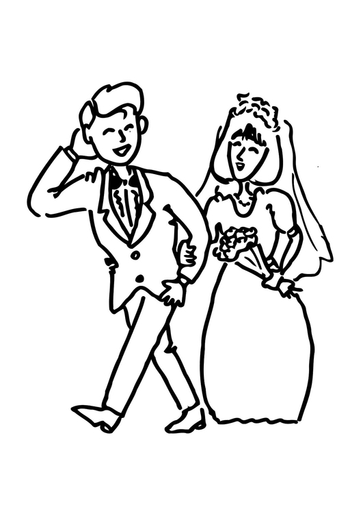 Coloring page get married