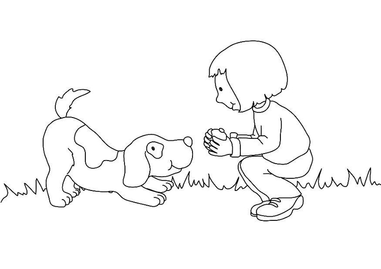 Coloring page girl and dog