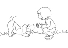 Coloring pages girl and dog