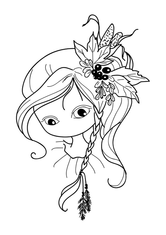 Coloring page girl - draw nose and mouth