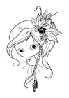 Coloring pages girl - draw nose and mouth