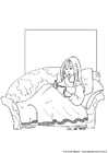 Coloring pages girl in armchair