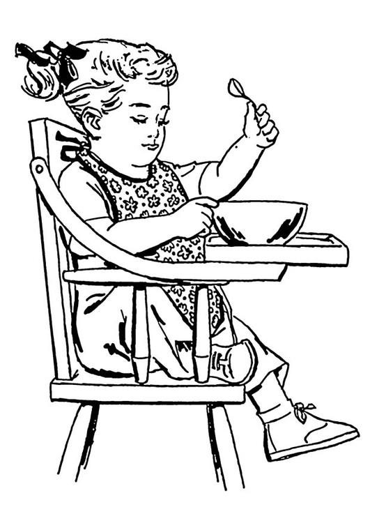 Coloring page girl in high-backed chair