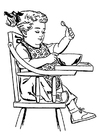 Coloring pages girl in high-backed chair