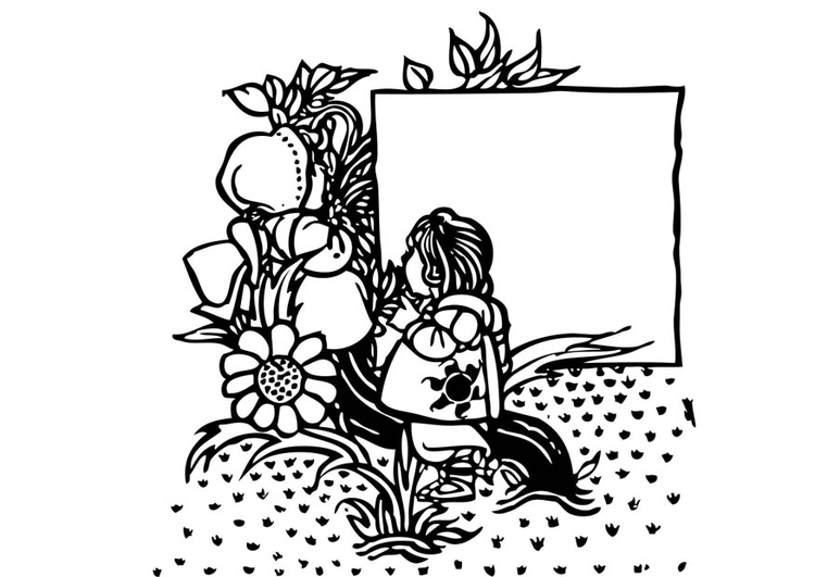 Coloring page Girl in the garden
