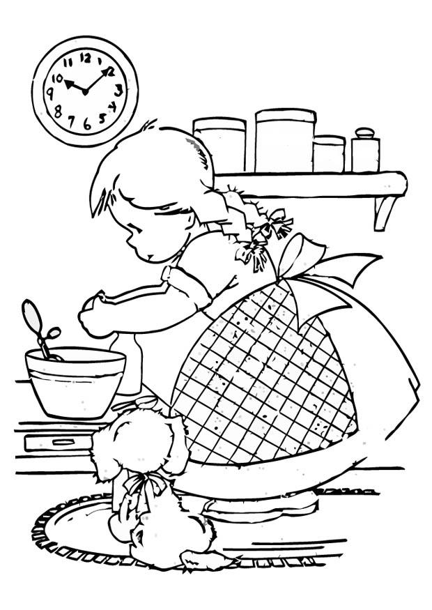 Coloring Page girl is cooking - free printable coloring pages
