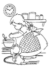 Coloring pages girl is cooking