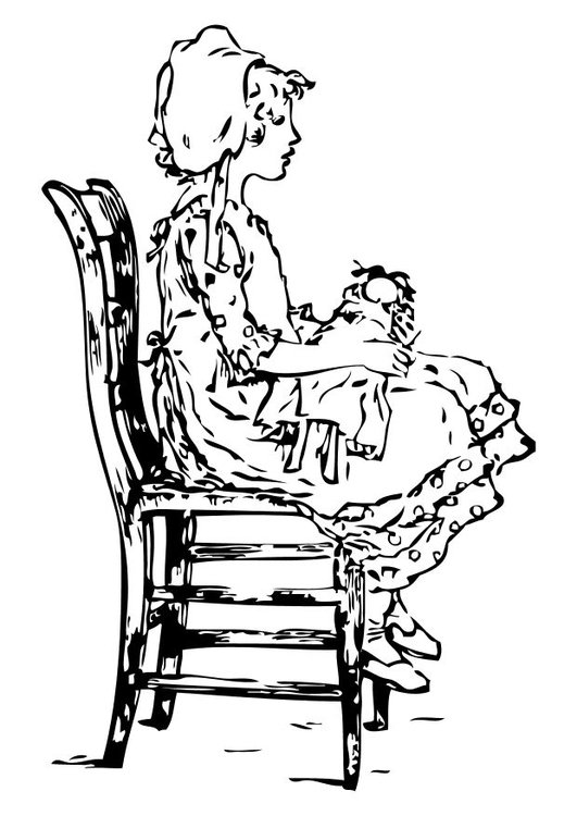 Coloring page girl on a chair