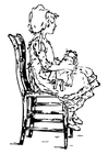 Coloring pages girl on a chair