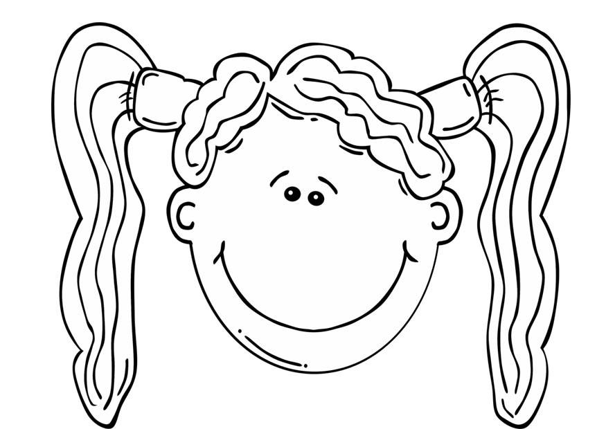 Coloring page girls face img 17089