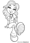 Coloring pages girl sitting