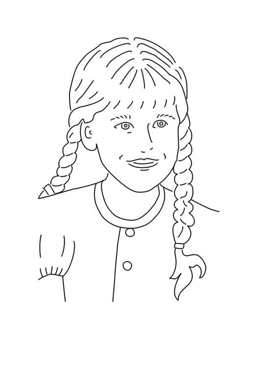 Coloring page girl with braided hair