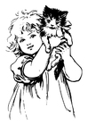 Coloring pages girl with cat