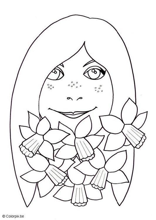 Coloring page girl with daffodils