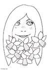 Coloring pages girl with daffodils