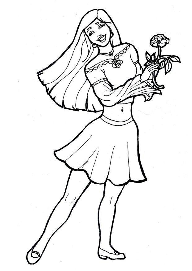 flower coloring pages for girls. Coloring page girl with flower
