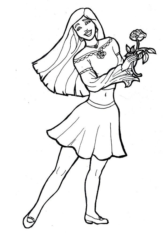 Coloring page girl with flower