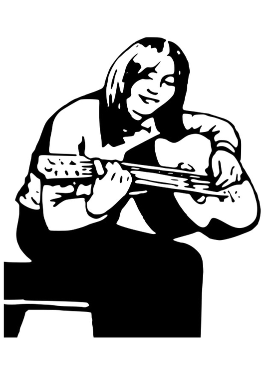Coloring page girl with guitar