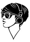 Coloring pages girl with headphones