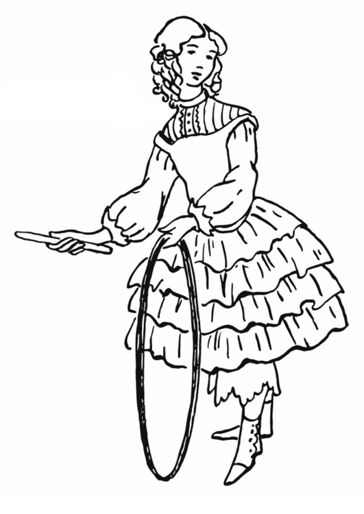 Coloring page Girl with hula-hoop