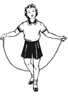 Coloring pages girl with skipping rope