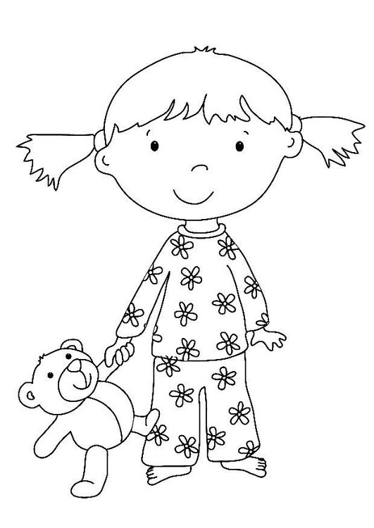 Coloring page girl with stuffed animal
