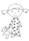 Coloring pages girl with stuffed animal