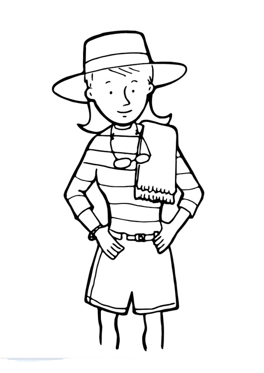 Coloring page girl with towel